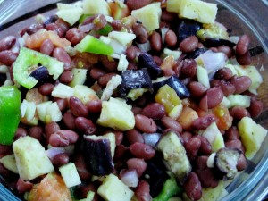 Roasted /Grilled Eggplant Salad with Kidneybeans